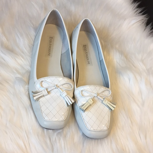 45aa0471eb8 Enzo Angiolini Shoes - Enzo Angiolini White Leather Loafers